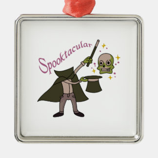 Spooktacular Magic Silver-Colored Square Ornament