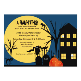 Spooky A Haunting Halloween Party Invitation