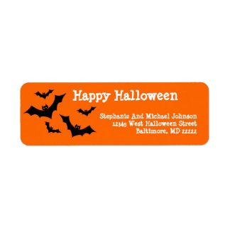 Spooky Bats Flying Happy Halloween Custom Return Address Label