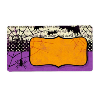 Spooky Bats Halloween Name Tag Label Shipping Label