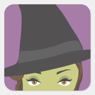 Spooky Beautiful Green Witch Halloween Sticker