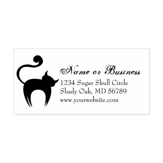 Spooky Black Cat Custom Address Self Inking Stamp