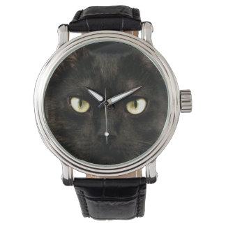 Spooky black cat face watch