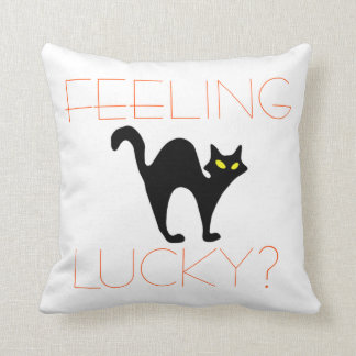 Spooky Black Cat Halloween Funny Orange White Throw Pillow