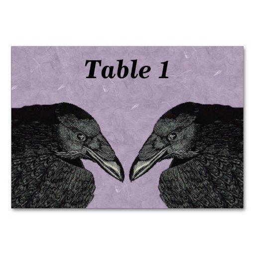 Spooky Black Crow Raven Face Table Card