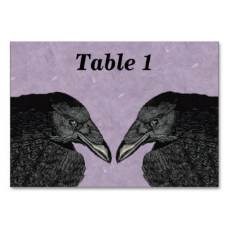 Spooky Black Crow Raven Face Table Cards