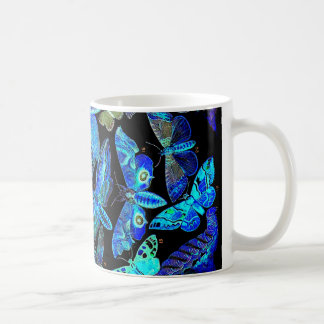 Spooky Blue Black Butterfly Moth Coffee Mug