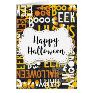 Spooky Boo Eek Candy Corn Happy Halloween Card