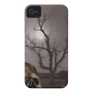 Spooky Cemetery Tombstones and Skull Photo Mashup iPhone 4 Cases