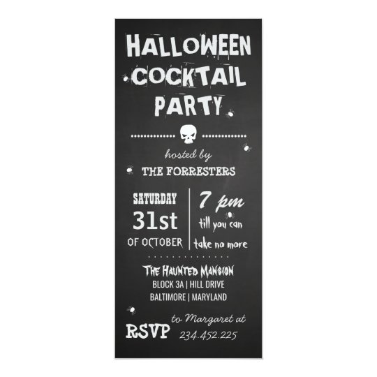 Spooky Chalkboard Halloween Cocktail Party Card