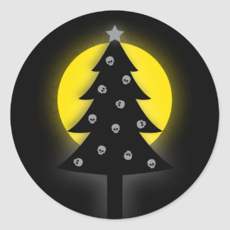 Spooky Christmas Tree Classic Round Sticker
