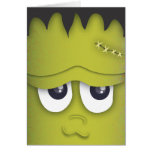 Spooky Cute Green Monster Head Halloween Card