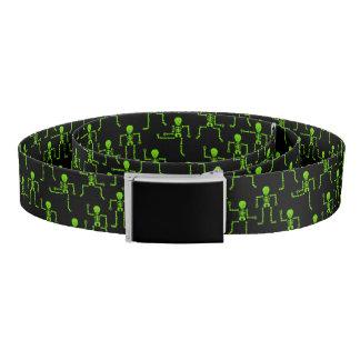 Spooky Dancing Bright Green Skeletons Pattern Belt