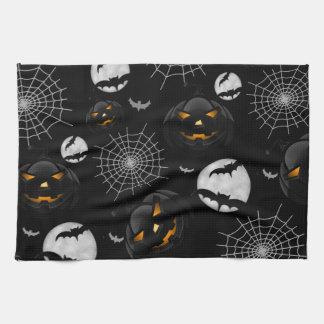 Spooky Dark Halloween Pattern Kitchen Towel