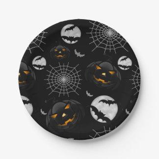 Spooky Dark Halloween Pattern Paper Plate