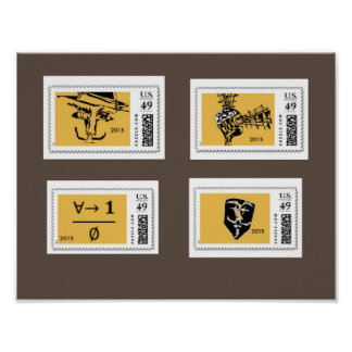 Spooky Dark Mask Postage Stamps Wall Art