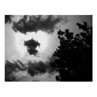 Spooky dark sky postcard