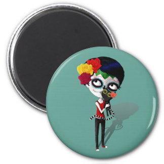 Spooky Dia de Los Muertos Girl Magnet