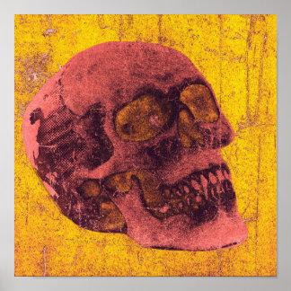 "Spooky Distressed Skull Art Poster 12"" x 12"""