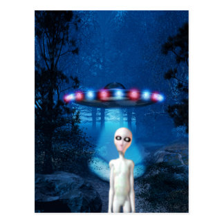 Spooky Forest UFO Close Encounter Postcard