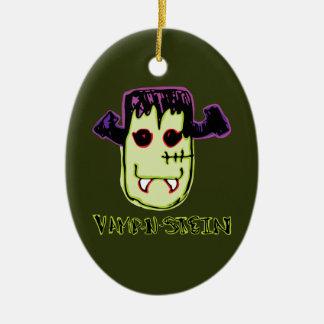 Spooky & Fun Vamp-N'-Stein Ceramic Oval Ornament