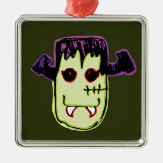 Spooky & Fun Vamp-N'-Stein Face Silver-Colored Square Ornament