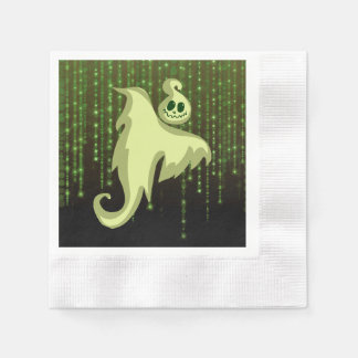 Spooky Ghost Green String Lights  Luncheon Napkins Paper Napkins