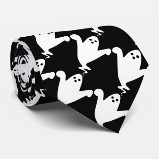 Spooky Ghosts Black and White Halloween Tie