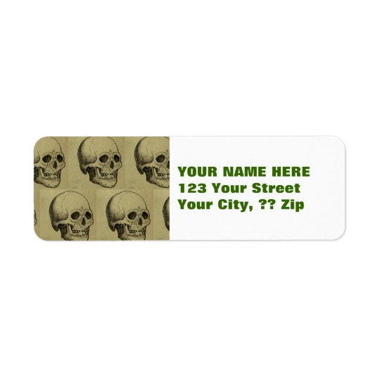 Spooky Gothic Skulls Pattern Halloween Return Address Label