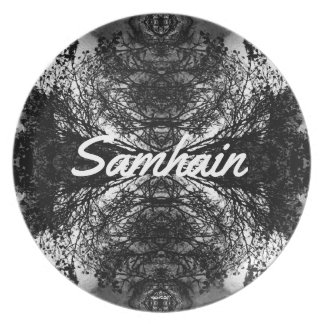 Spooky Gothic Trees Pat. Samhain Witches New Year Plate