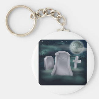 Spooky grave basic round button keychain
