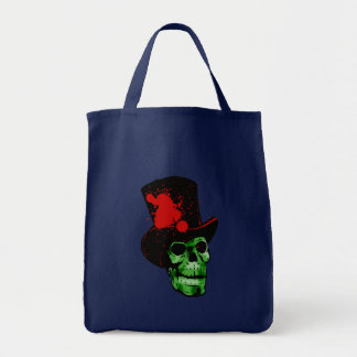 Spooky Green Skull with Top Hat Tote Bag