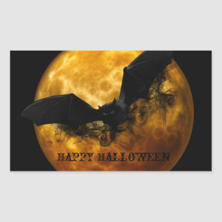 Spooky Halloween Bat and Full Moon Sticker