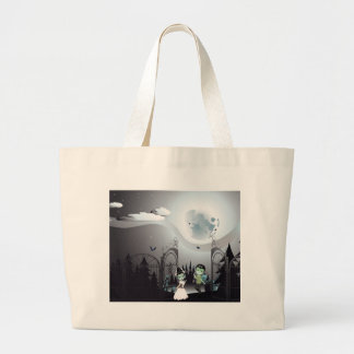 Spooky Halloween Cemetery Large Tote Bag