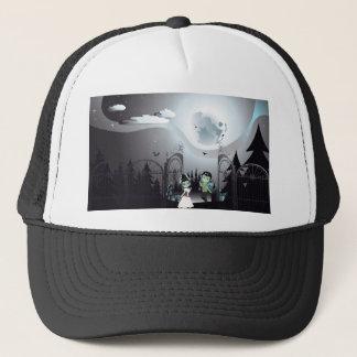 Spooky Halloween Cemetery Trucker Hat
