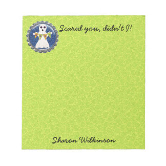 Spooky Halloween Ghost Personalized 5.5 x 6 Notepad