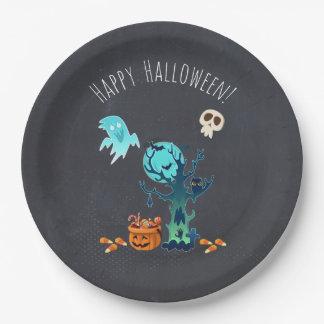 Spooky Halloween Graveyard 9 Inch Paper Plate