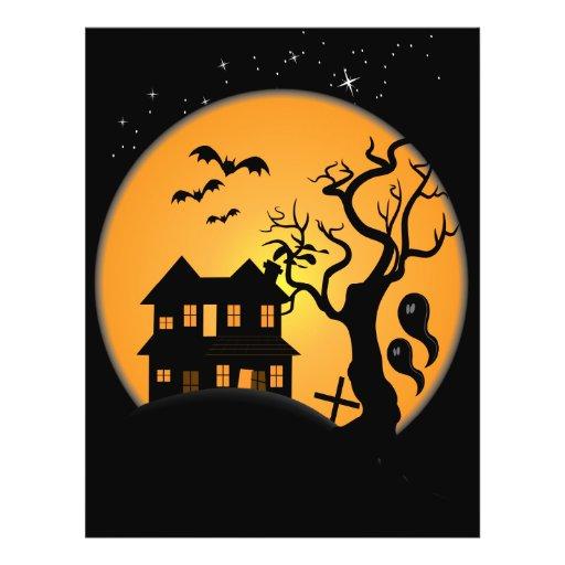 spooky halloween haunted house scene vector flyer