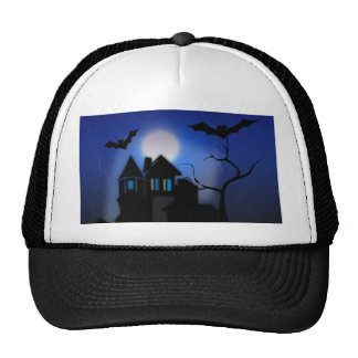 Spooky Halloween Haunted House with Bats Trucker Hat