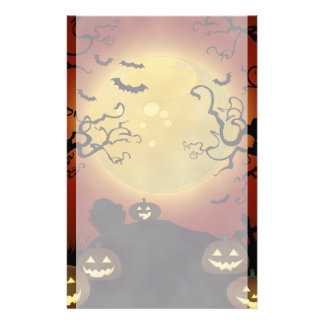 Spooky Halloween Moon, Pumpkins and Bats Stationer Stationery
