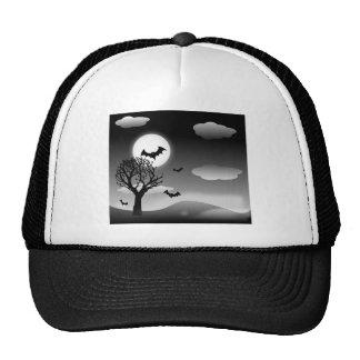 Spooky Halloween Nighttime Landscape Trucker Hats