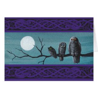 Spooky Halloween Owls Card