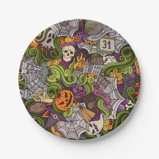 "Spooky Halloween Paper Plates 7"" 7 Inch Paper Plate"