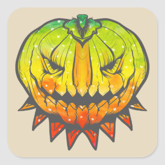 Spooky Halloween Pumpkin Square Sticker