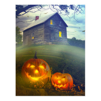 Spooky Halloween Pumpkins Postcard
