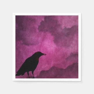 Spooky Halloween Raven Prints Paper Napkin