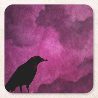 Spooky Halloween Raven Prints Square Paper Coaster