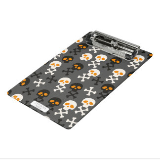 Spooky Halloween Skulls Pattern on Grey