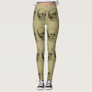 Spooky Halloween Skulls Vintage Look Goth Leggings