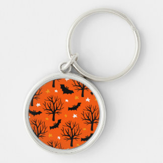 Spooky Halloween Tree with Bats and Stars Keychain
